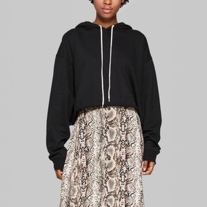 Wild Fable Cropped Hoodie Black XXL